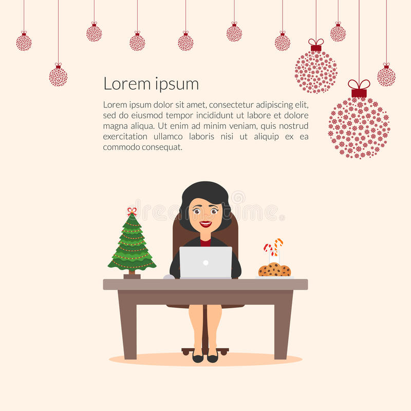 可爱的美丽的漫画人物女实业家 典雅的女孩秘书助理 圣诞快乐和新年好 皇族释放例证