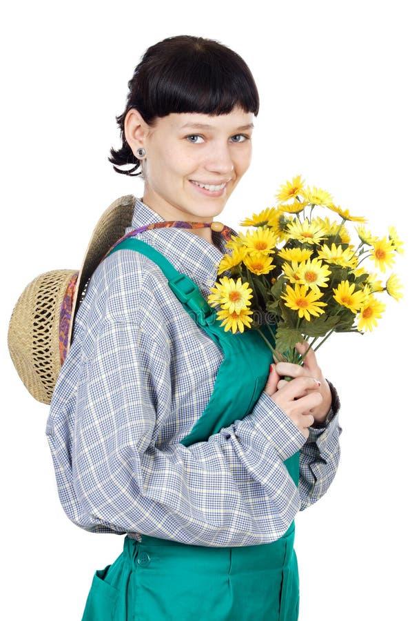 可爱的花匠夫人 库存照片