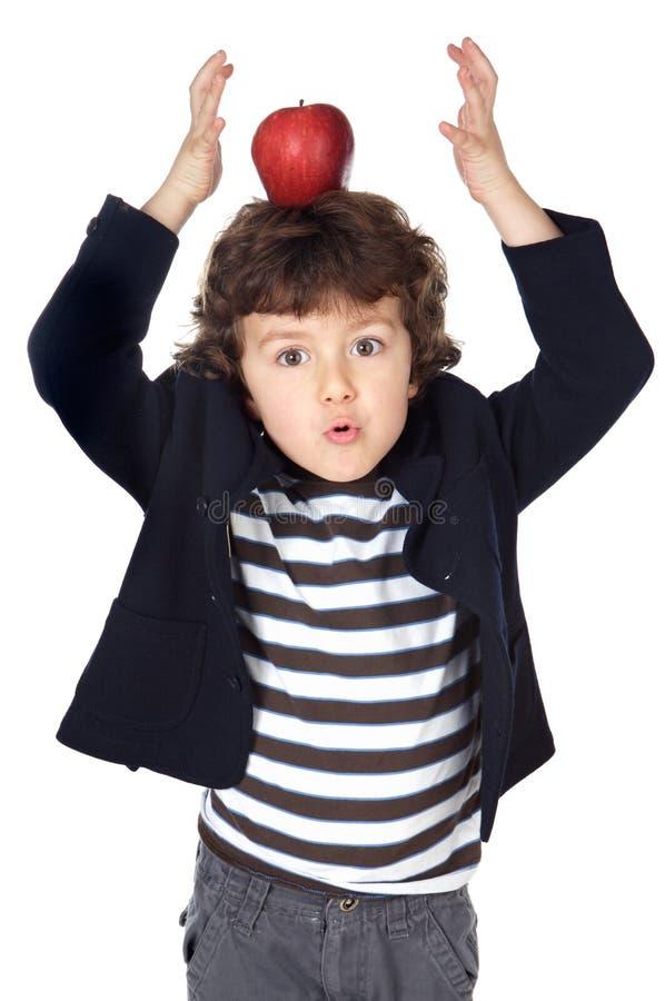 可爱的苹果儿童题头 免版税库存照片