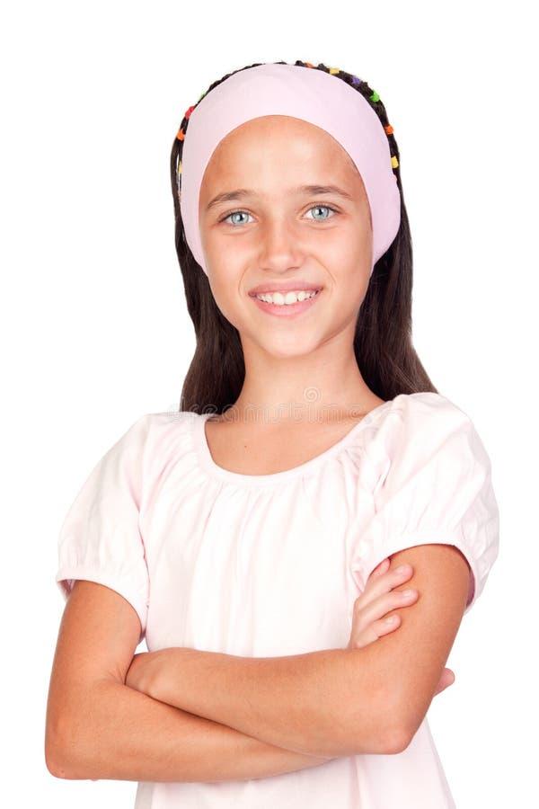 可爱的蓝眼睛女孩一点 库存图片