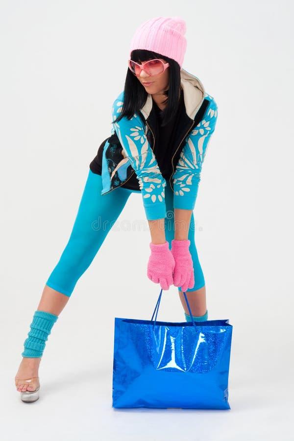 可爱的袋子购物妇女 库存照片