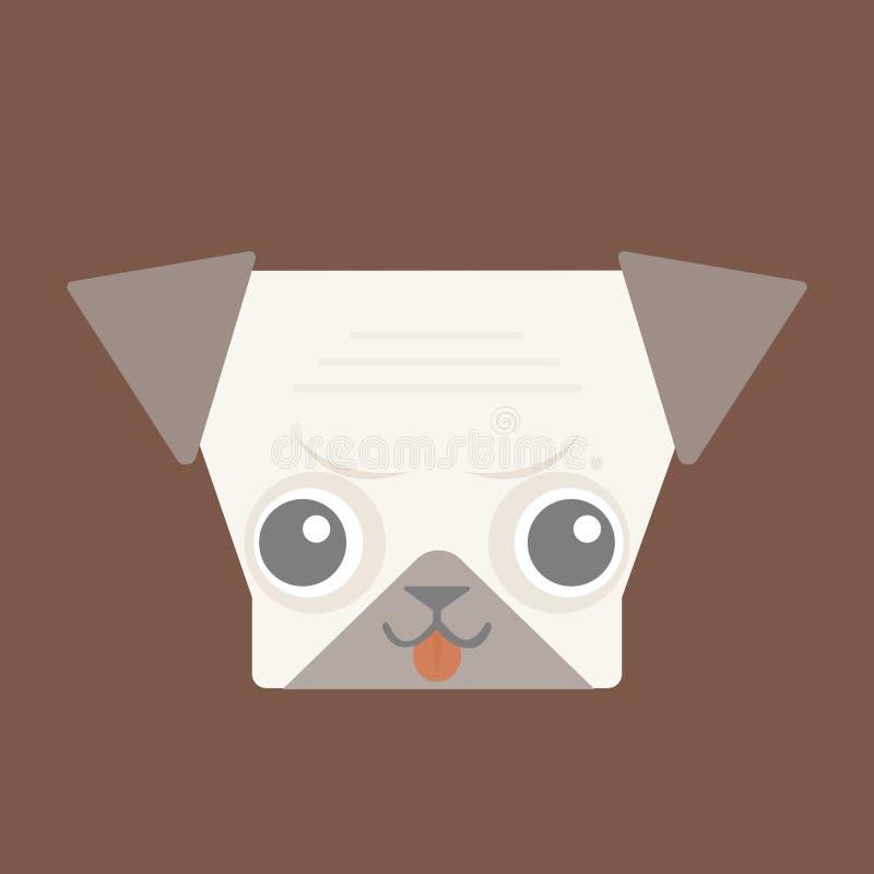 可爱的逗人喜爱的在布朗背景的哈巴狗平的设计 向量例证