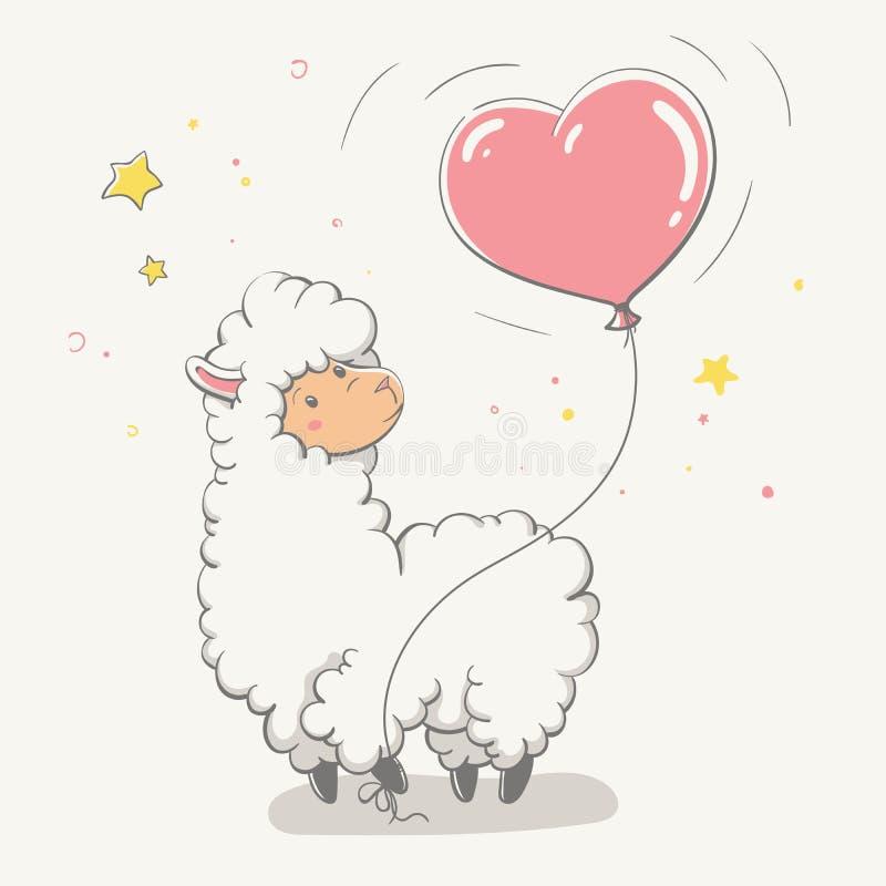 可爱的逗人喜爱的跳跃的骆马/骆马之类与一个心形的气球 爱动画片动物 库存例证