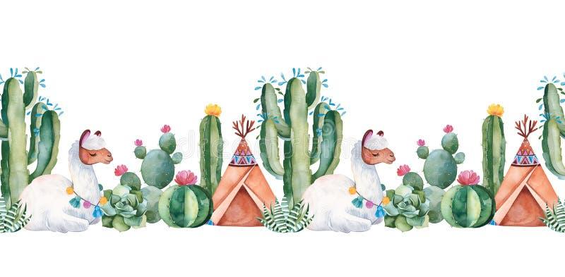 可爱的重复边界用绿色水彩仙人掌、多汁植物、花、圆锥形帐蓬和逗人喜爱的骆马 向量例证