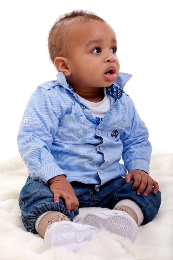 可爱的非洲裔美国人的婴孩 图库摄影