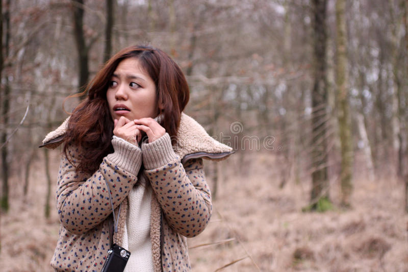 可爱的黑暗的森林女孩日语惊吓了 免版税库存图片