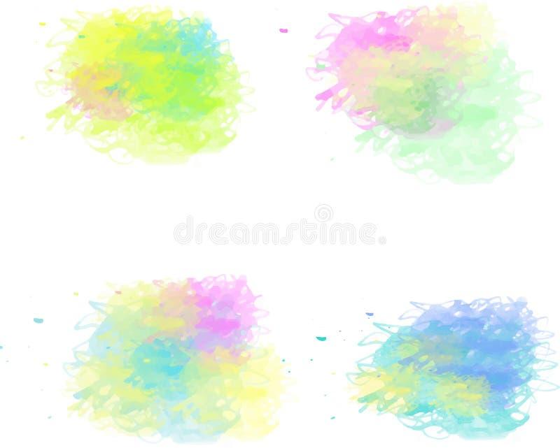 可爱的水彩刷子 向量例证
