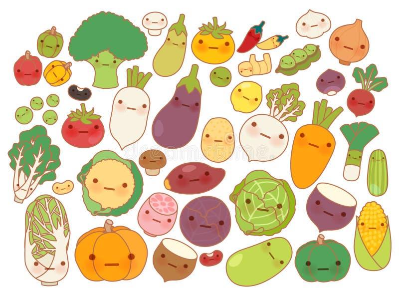 可爱的水果和蔬菜象,逗人喜爱的红萝卜,可爱的白萝卜,甜蕃茄, kawaii土豆,娘儿们玉米的汇集 向量例证