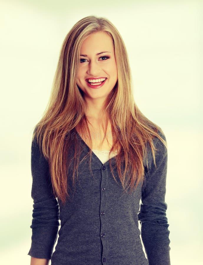 可爱的年轻白肤金发的妇女 库存照片