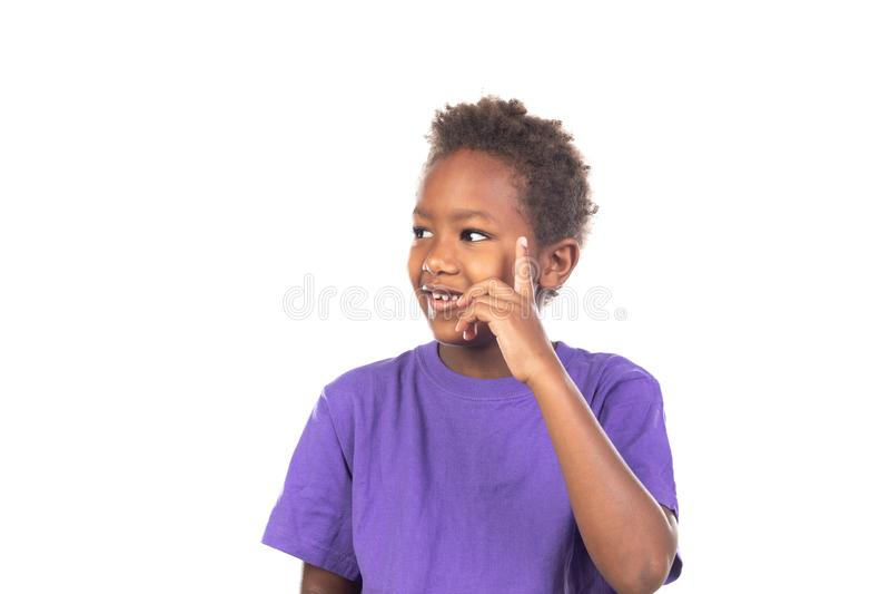 可爱美国黑人儿童认为 免版税图库摄影