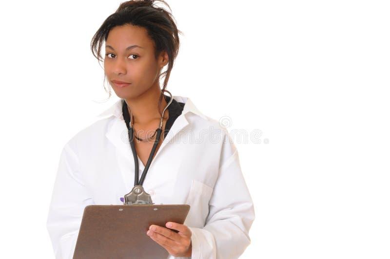 可爱非洲裔美国人的医生 免版税图库摄影