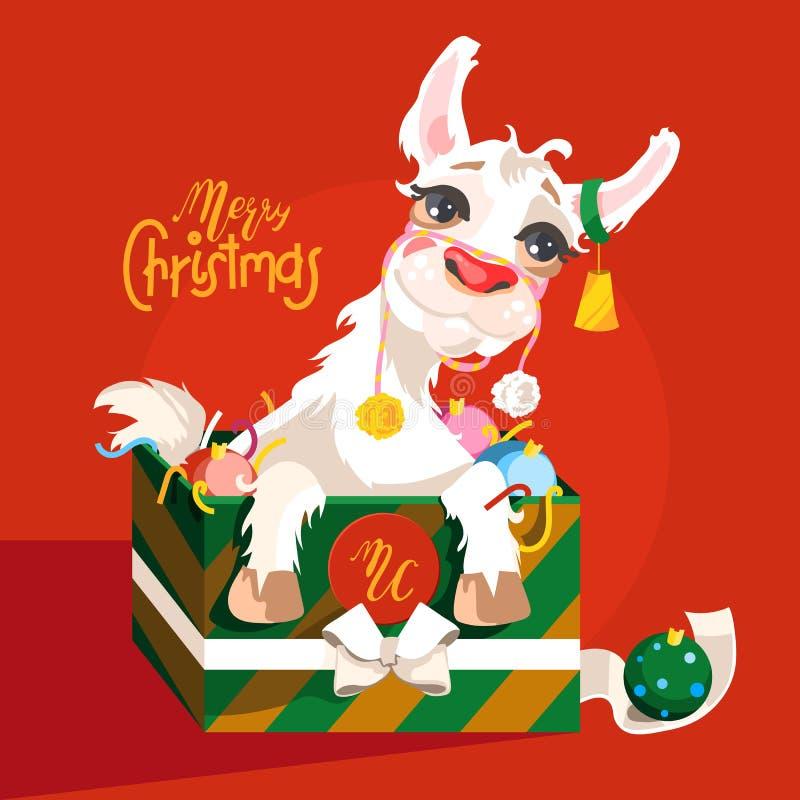 可爱,逗人喜爱,动画片圣诞节骆马字符 向量例证