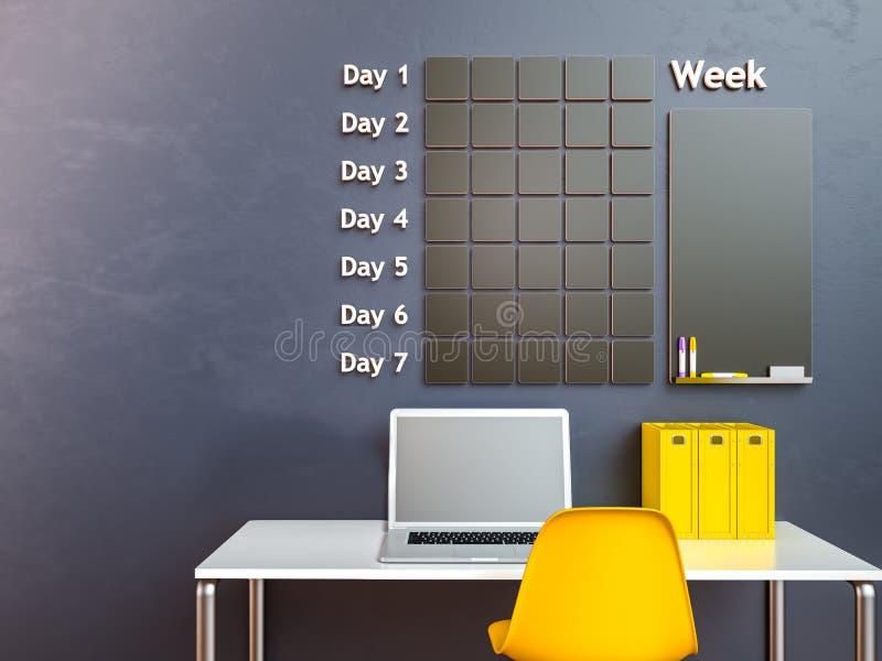 可用的日历更多页系列墙壁 日程表备忘录管理组织者概念 3d回家内部翻译剧院 向量例证