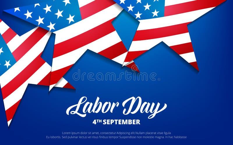 可用的日文件人工向量 美国劳动节背景 与美国旗子和印刷术星的横幅  皇族释放例证
