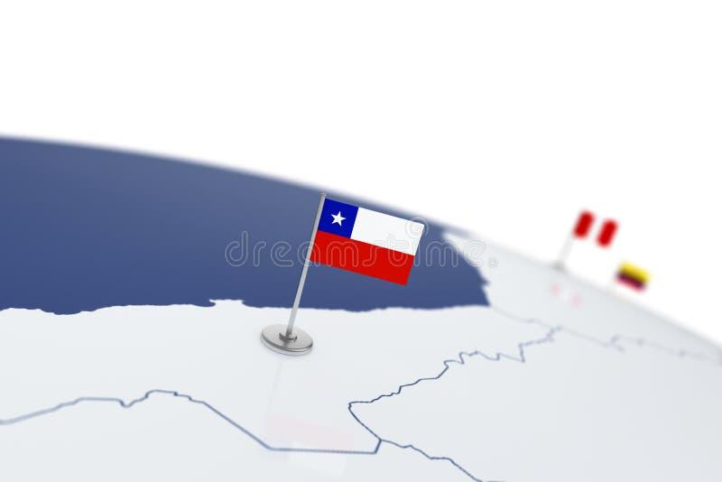 可用的智利标志玻璃样式向量 向量例证