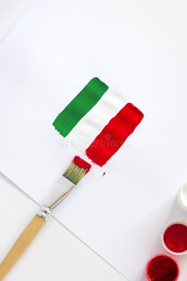 可用的标志玻璃意大利样式向量 与刷子的被绘的意大利旗子在白色背景 库存图片