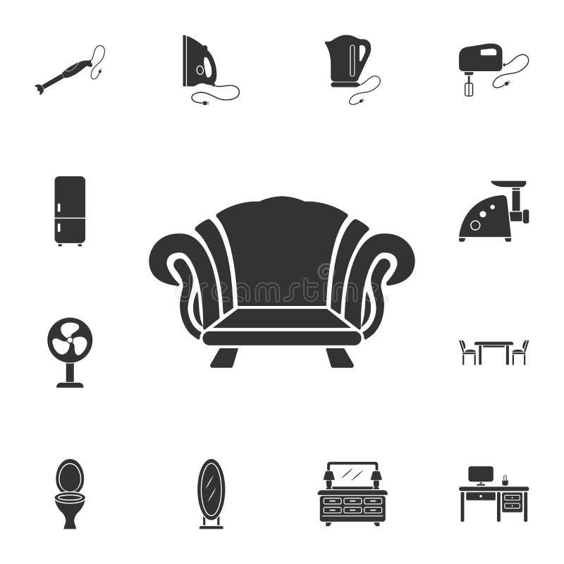可用的椅子经典图标向量 简单的元素例证 从家庭家具汇集集合的经典椅子标志设计 能为w使用 库存例证