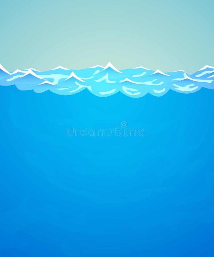 0 8可用的背景eps水下的向量版本 海或海洋水和波浪 皇族释放例证