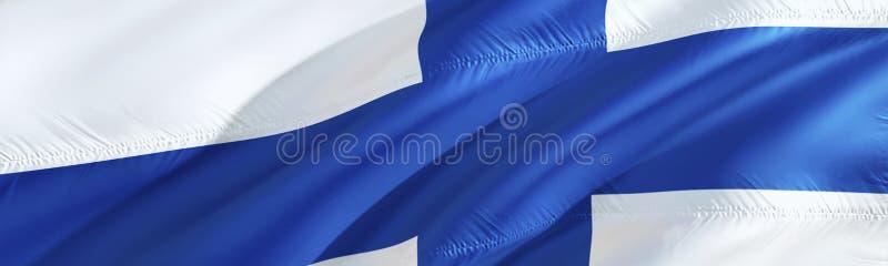 可用的芬兰标志玻璃样式向量 3D翻译挥动的旗子设计 国家标志的芬兰语 3D挥动的标志设计 挥动的标志背景 库存照片