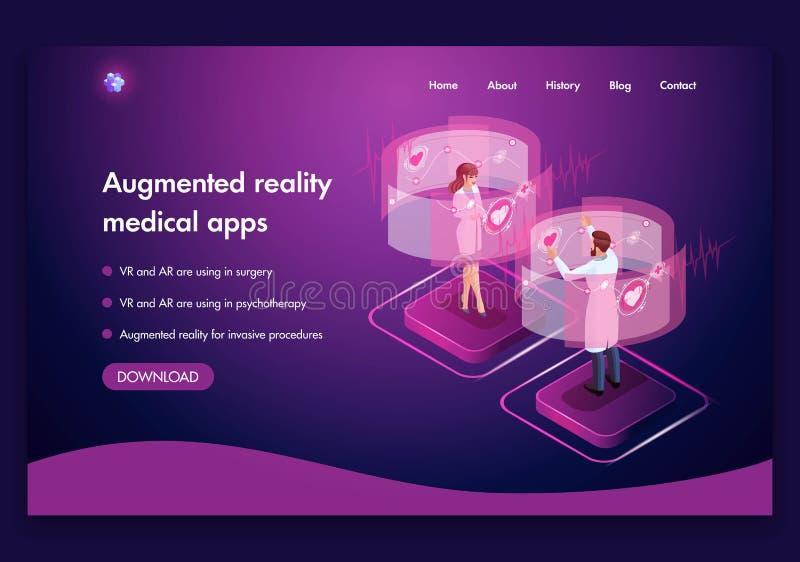 可用的设计eps8格式化jpeg模板网站 医生被增添的现实概念工作的等量医疗概念  VR和AR用于手术 皇族释放例证