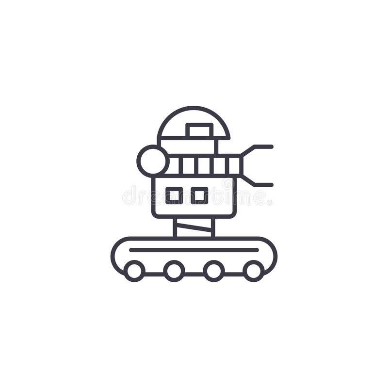 可移动的机器人线性象概念 可移动的机器人线传染媒介标志,标志,例证 向量例证