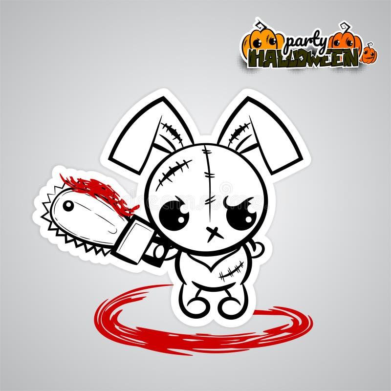 可笑万圣夜邪恶的兔宝宝伏都教玩偶的流行艺术 库存例证