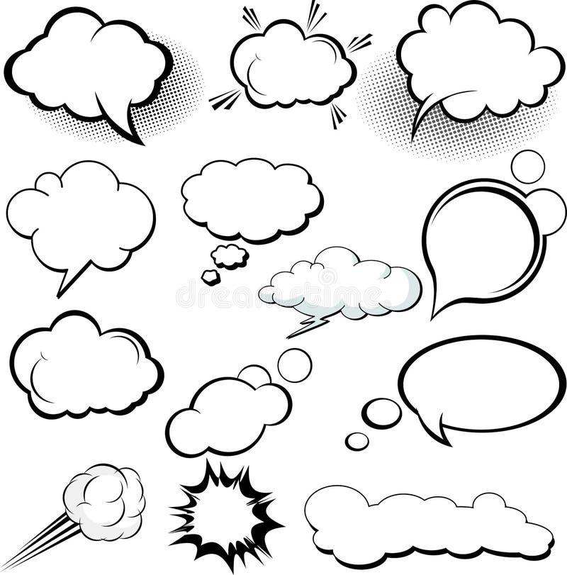 可笑和动画片样式蘑菇云层数对话 皇族释放例证