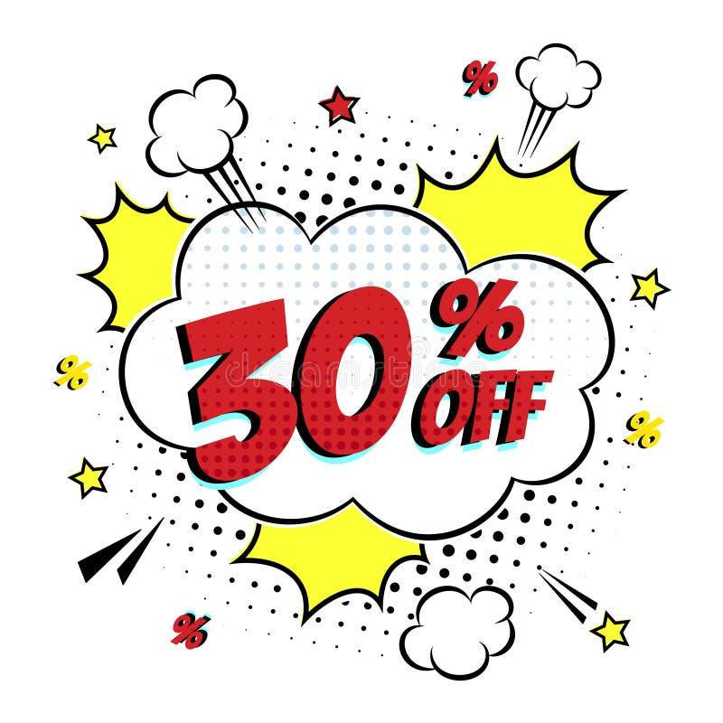 可笑在上写字的30%在讲话泡影可笑的样式平的设计的销售 向量例证