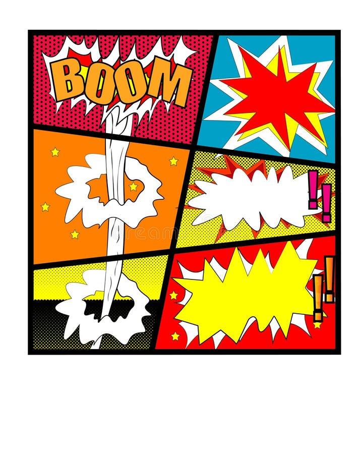 可笑的传染媒介-可笑的讲话泡影设置与文本景气 横幅提供资金的 BAMM KA-PAW传染媒介用被隔绝的不同的情感的动画片爆炸 向量例证