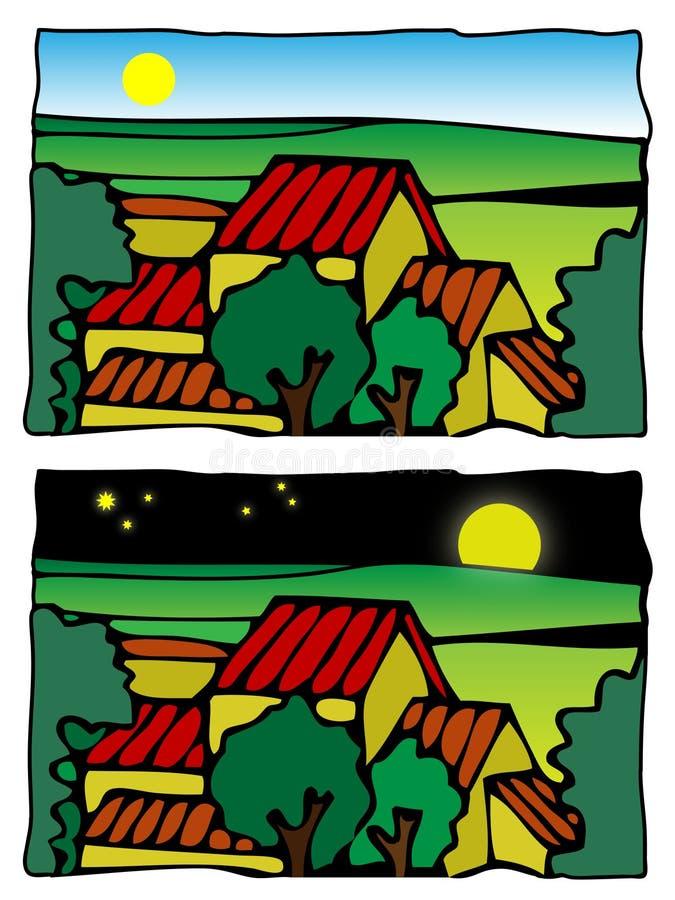 可笑的农厂例证场面向量 库存图片