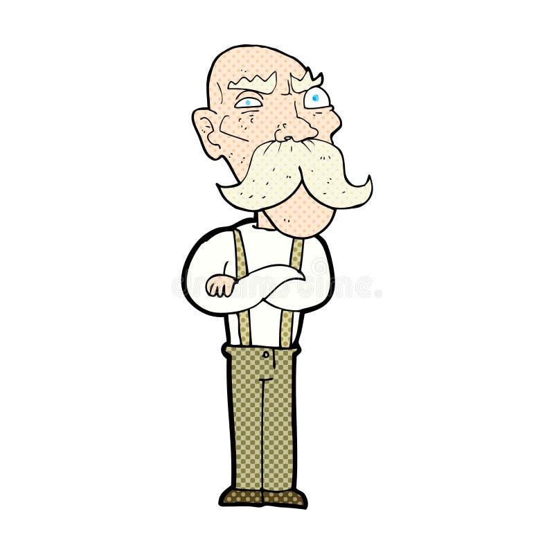可笑的动画片恼怒的老人 向量例证