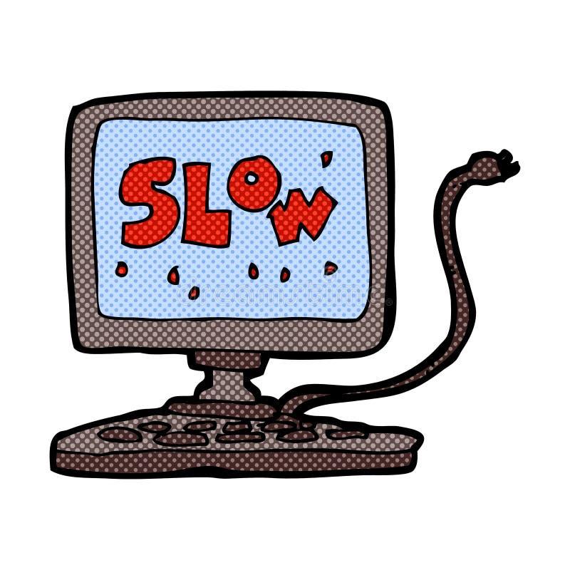 可笑的动画片慢计算机 皇族释放例证
