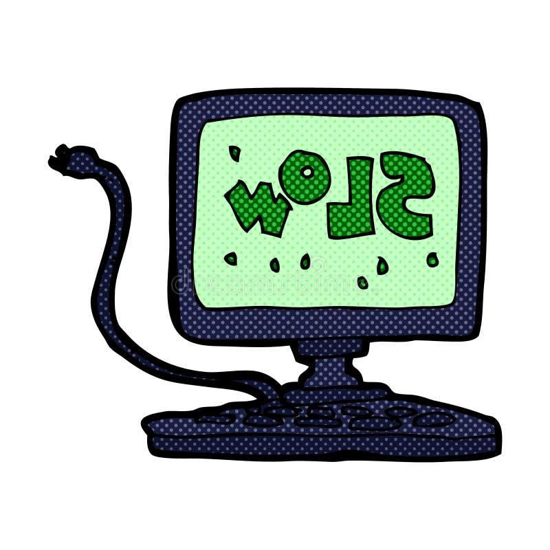 可笑的动画片慢计算机 向量例证