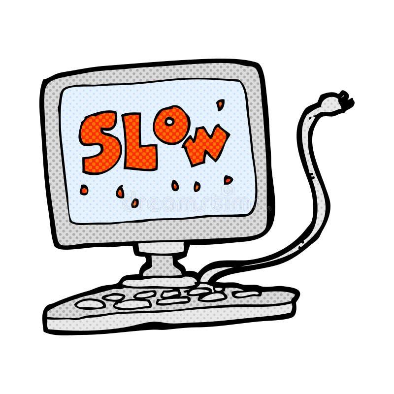 可笑的动画片慢计算机 库存例证