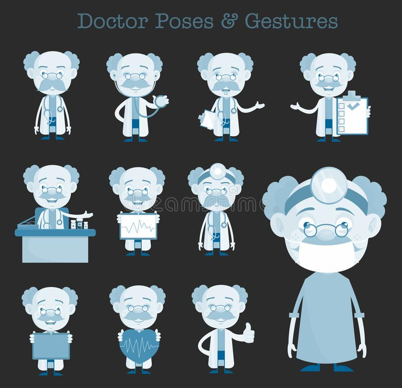 可笑的医生Various Gestures和概念传染媒介集合 皇族释放例证