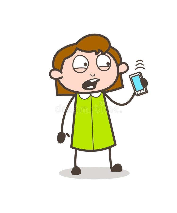 谈话在电话-减速火箭的女勤杂工雇员动画片传染媒介例证.图片