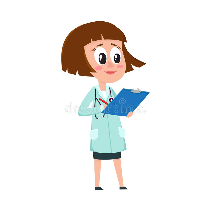 可笑的女性,妇女与拿着剪贴板的突然移动理发的医生字符 库存例证