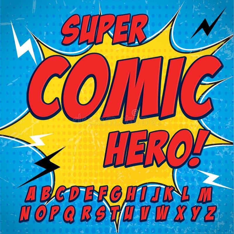 可笑的字母表集合 红颜色版本 信件、数字和图孩子的例证网站漫画横幅的 向量例证