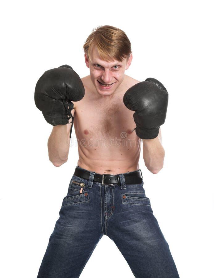可笑的拳击手 免版税库存图片