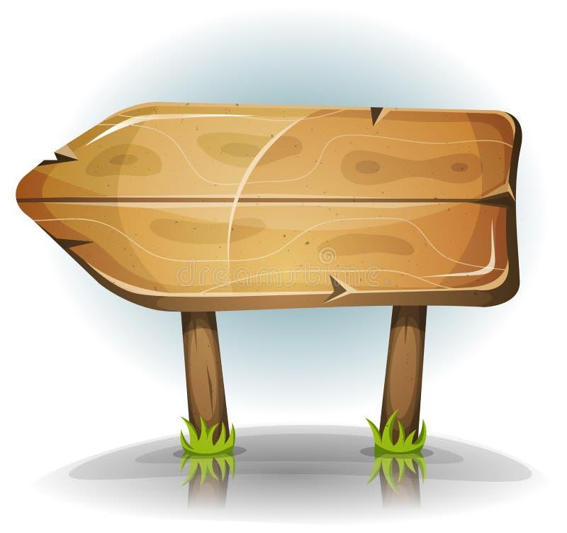 可笑的木标志箭头 库存例证