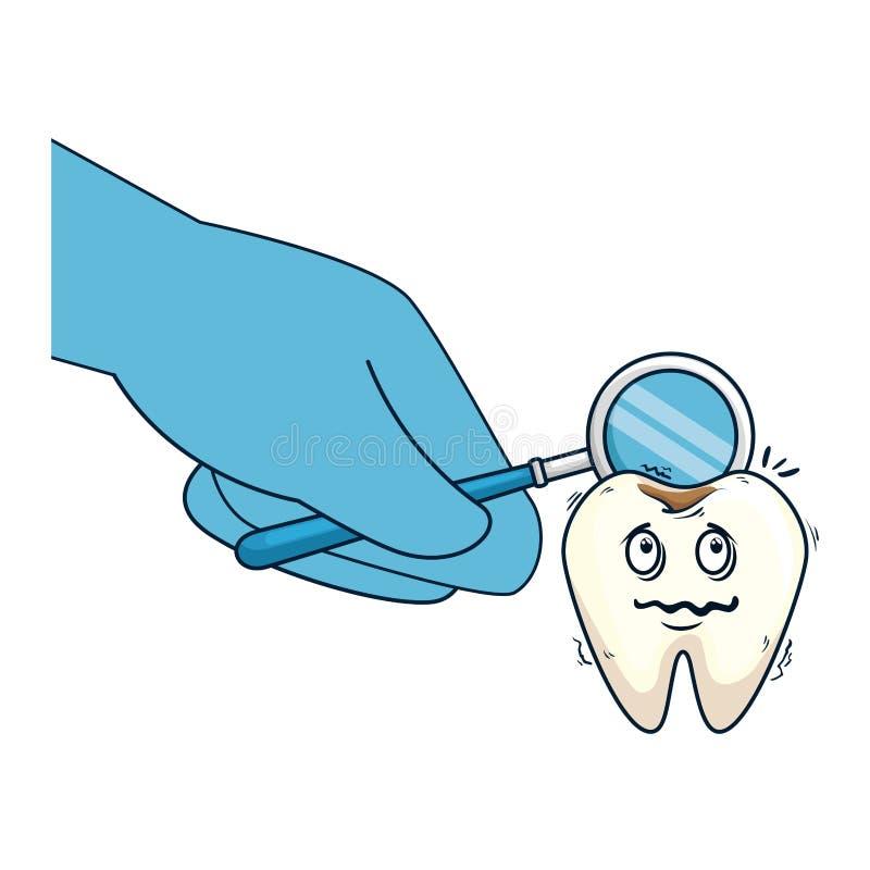 可笑的牙用使用镜子的牙医手 库存例证