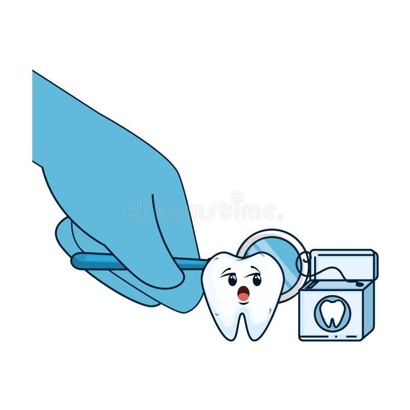 可笑的牙用使用镜子的牙医手 向量例证