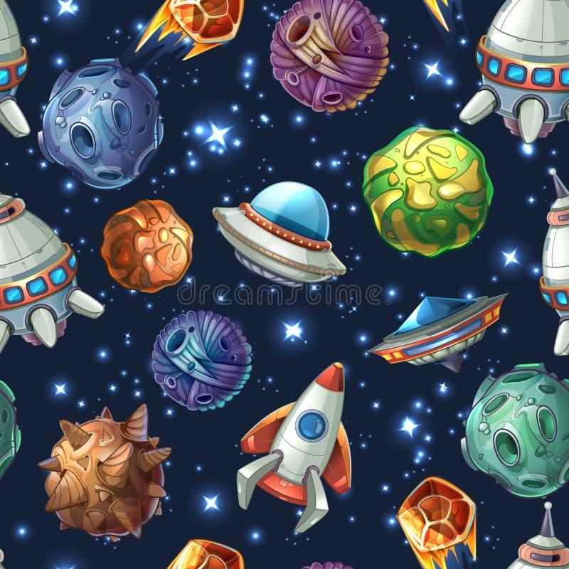 可笑的空间行星和太空飞船 向量 向量例证