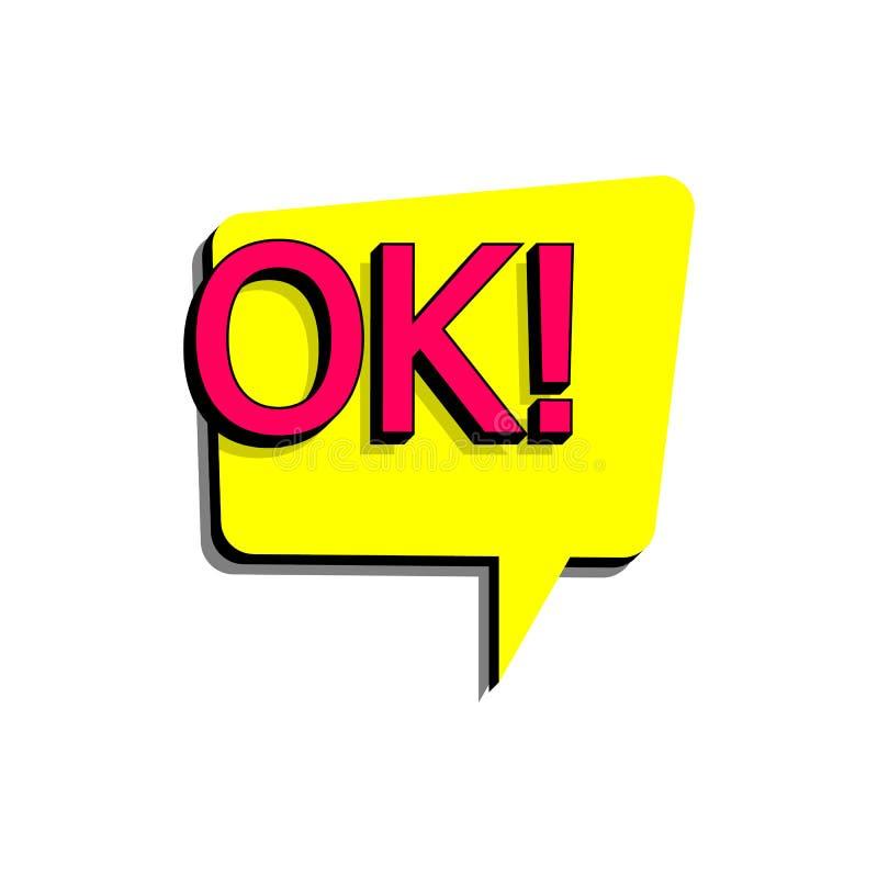 可笑的讲话泡影以表示文本ok 导航在减速火箭的流行艺术样式的明亮的动态动画片例证被隔绝的 库存例证