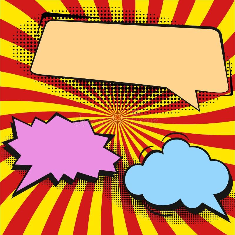 可笑的讲话泡影和漫画在五颜六色的半音背景例证 皇族释放例证