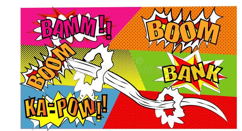 可笑的讲话泡影设置与文本景气 横幅提供资金的 BAMM KA-PAW传染媒介用在白色backg隔绝的不同的情感的动画片爆炸 向量例证