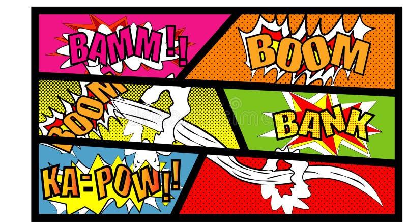 可笑的讲话泡影设置与文本景气 横幅提供资金的 BAMM KA-PAW传染媒介用在白色backg隔绝的不同的情感的动画片爆炸 库存例证