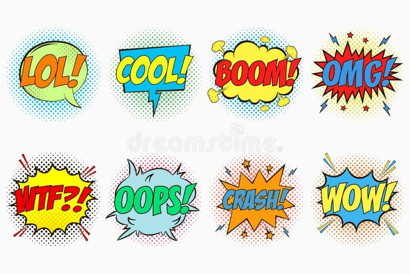 可笑的讲话泡影设置了激动- LOL 冷静 景气 OMG WTF oops 失败 哇 对话作用动画片剪影  皇族释放例证