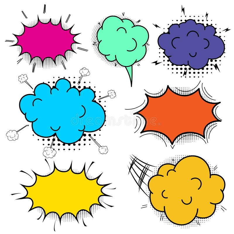 可笑的讲话泡影集合 讲话泡影流行艺术样式 库存例证