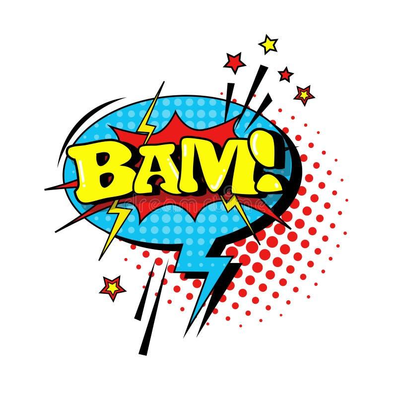 可笑的讲话闲谈泡影流行艺术样式Bam表示文本象 向量例证